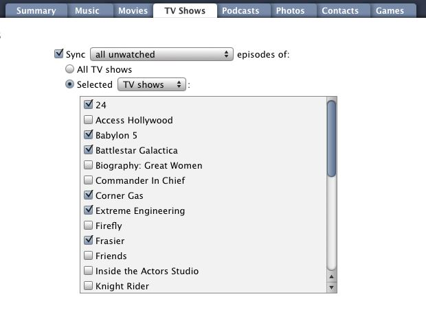 Syncing TV Shows to iPod 1