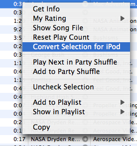 iTunes Right Click to Convert