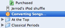 iTunes Converting Status in Sidebar