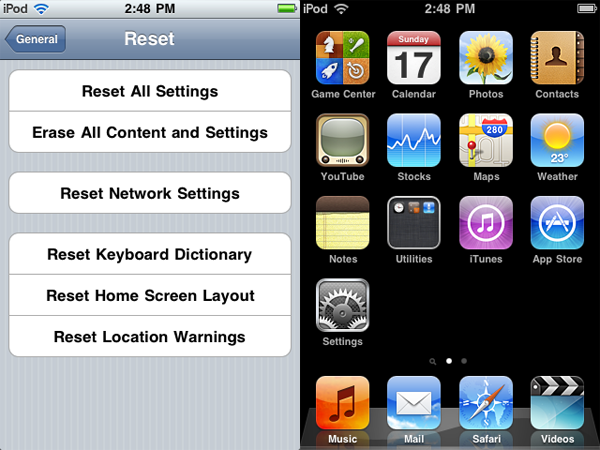 Missing built-in apps on iPod touch 3