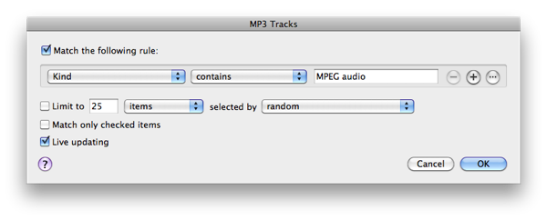 Finding MP3 tracks in iTunes 1