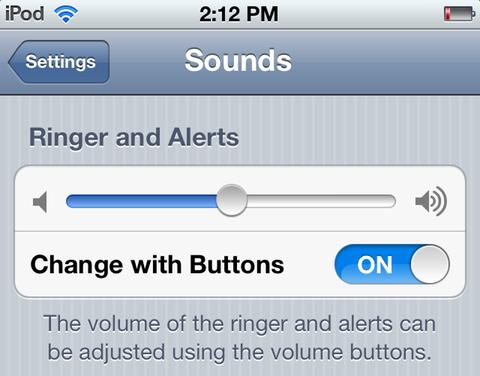 Adjusting iPod touch ringer volume