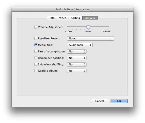 Importing MP3 audiobooks into iTunes 1