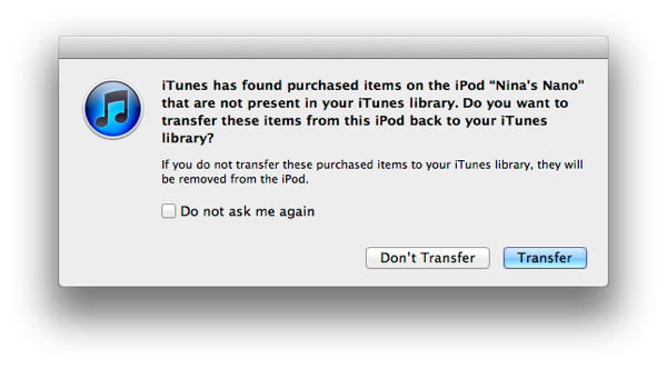 Transferring Purchases to iTunes