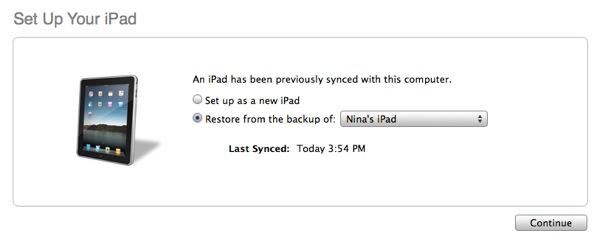 Transferring data to new iPad 1