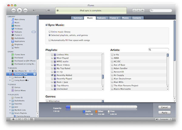 Syncing Recently Added playlist 1