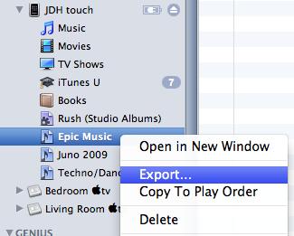 copy playlist from ipod