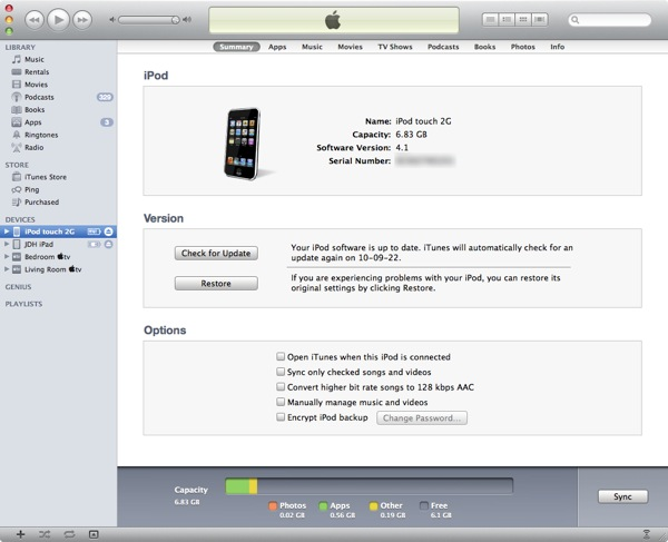 Reset passcode on iPod touch 2