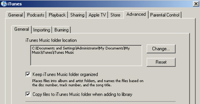Moving iTunes content to another hard drive