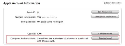 Resetting iTunes authorizations 1