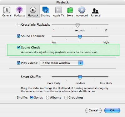 Song volume adjustments in iTunes 1