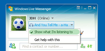 Showing current track in Windows Messenger 4