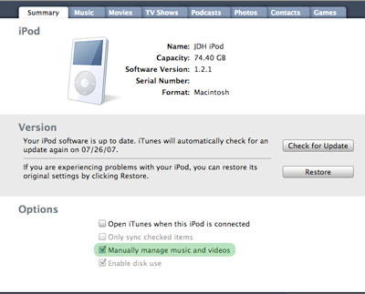 Transferring between two iTunes libraries