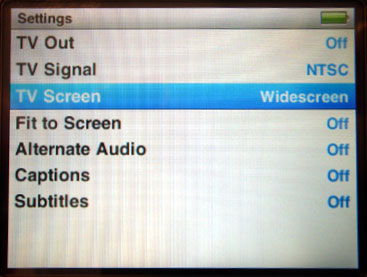 Output settings when playing movies from iPod to TV 1