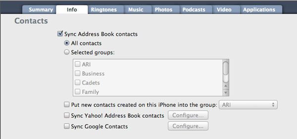 Synchronizing contacts to iPod touch 1