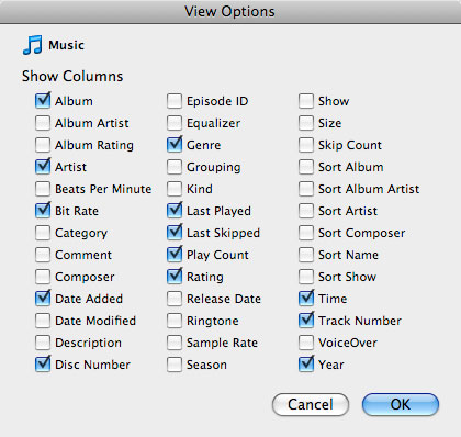Sorting tracks in iTunes