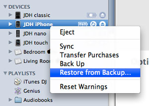 Transferring saved application data to new iPhone 1