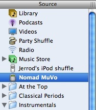 Using iTunes with a Creative MuVo 1