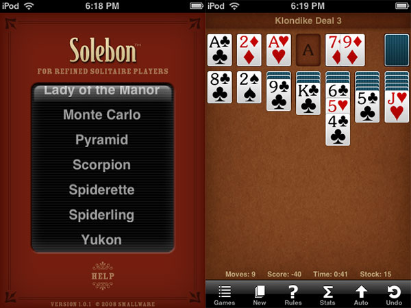 Review: Sol Free, Solebon, and Wee Spider Solitaire by Smallware
