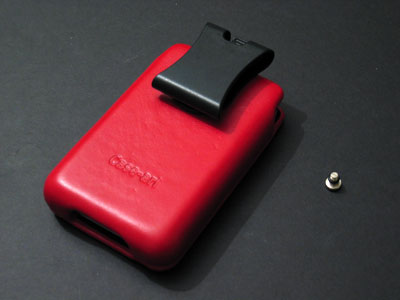 Back of Red 5G with Belt Clip attached