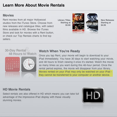 Direct-to-iPad rentals don't transfer to iTunes | iLounge News