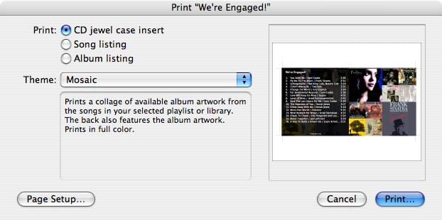 Printing jewel case inserts from iTunes playlists