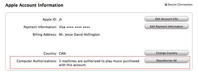Resetting iTunes authorizations