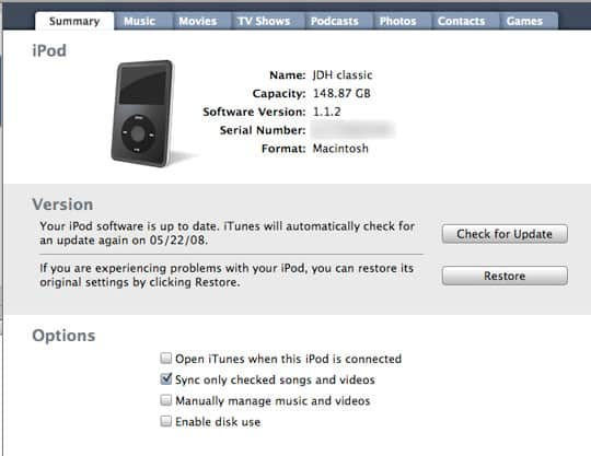 iPod displays audio but no video