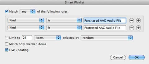 Creating Smart Playlists for Purchased items