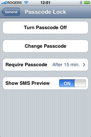 Hiding SMS previews on iPhone