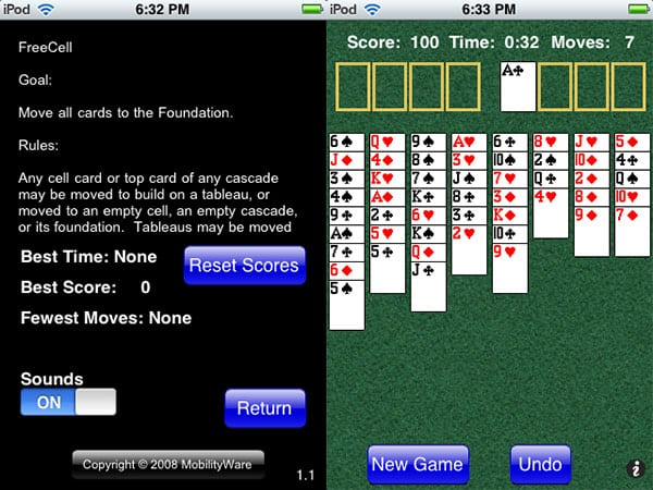 Review: Freecell, Pyramid, and Solitaire by MobilityWare