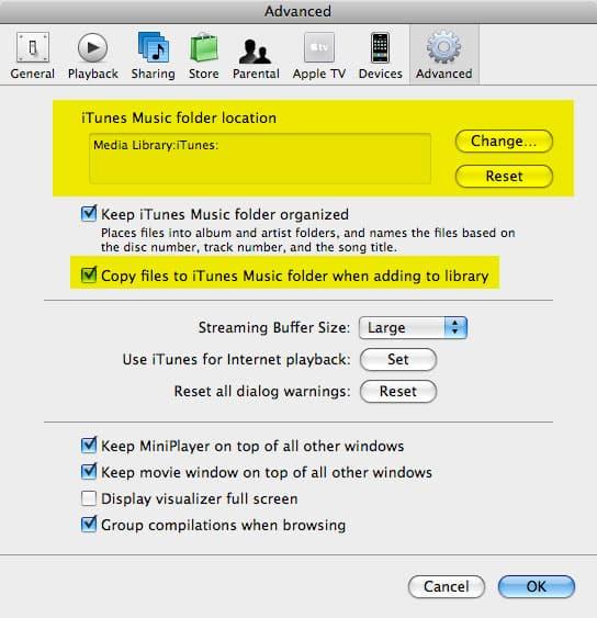 Managing iTunes media files on an external hard drive