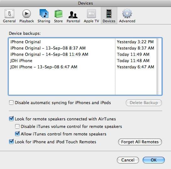 Managing iPhone Backups