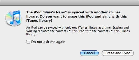 iPod synchronization to a new computer