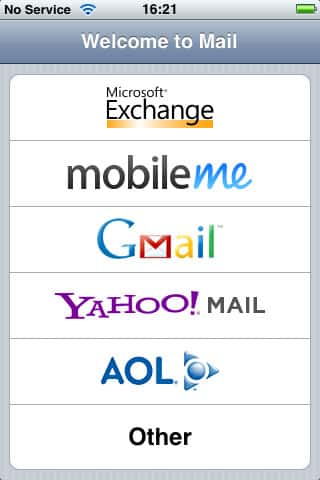 iPod touch e-mail accounts