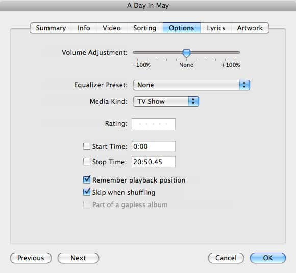 Classifying videos in iTunes 8