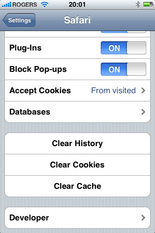 Safari problems on iPod touch