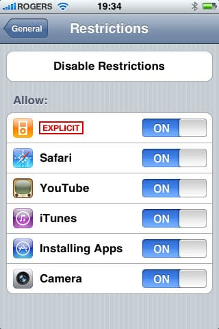Parents controls on iPod touch