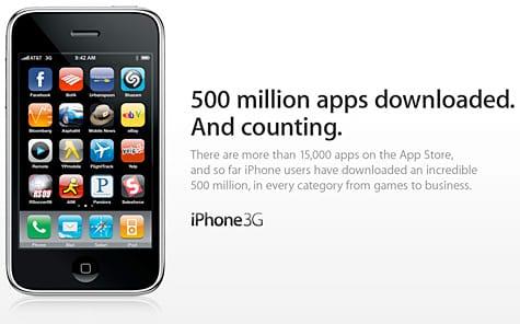 App Store: 500 million downloads, 15,000 apps