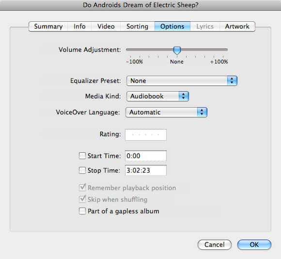 Tagging tracks as Audiobooks in iTunes 8