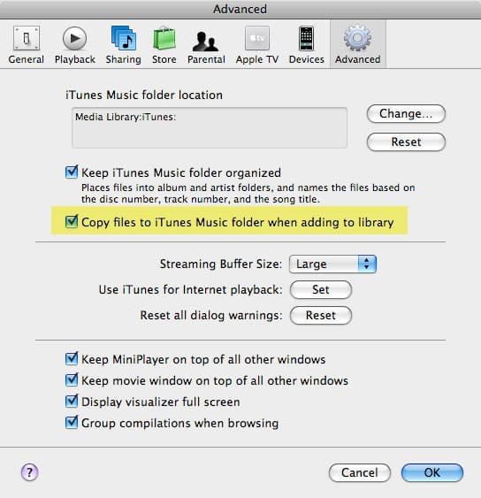 Importing music into iTunes