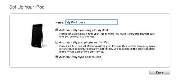 Syncing Apps on new iPod touch