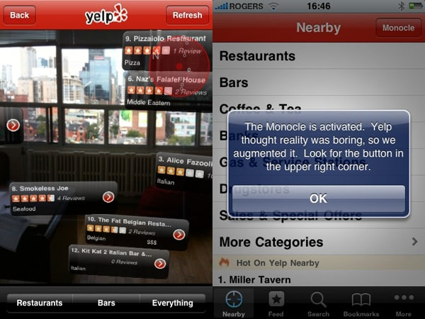 Yelp for iPhone update brings augmented reality feature
