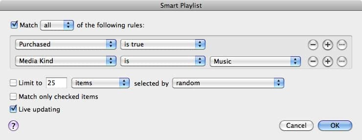 Identifying purchased tracks in iTunes