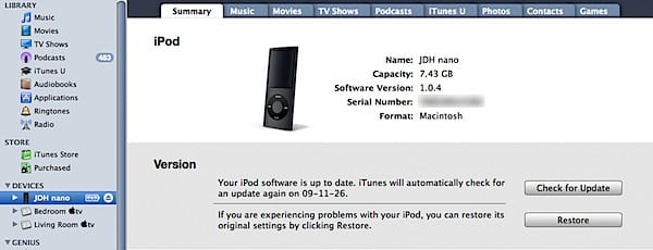 Transferring an iPod to a new user