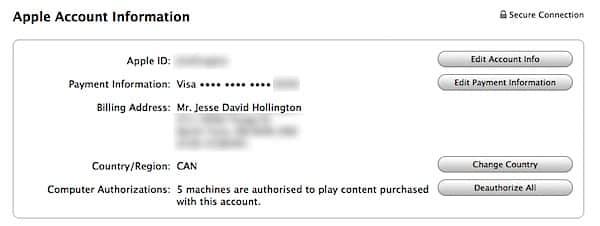 Deauthorizing iTunes