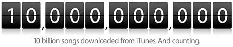 iTunes reaches 10 billion download milestone