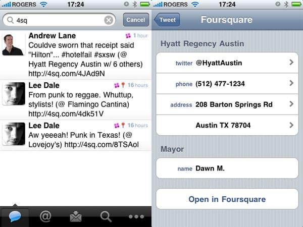 Tweetie 2 update adds Foursquare integration