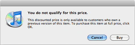 iTunes dialog points to upgrade pricing on App Store (Updated)
