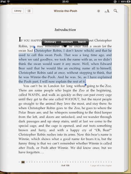 Copying text from iBooks